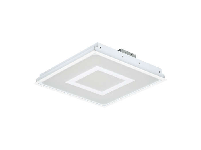 SmartBalance recessed RC482B LED luminaire with inner masking, module size 625 (concealed profile or plaster ceiling version)