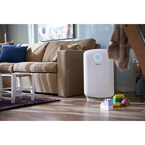 Kombinert 2-i-1-luftrenser som renser og fukter