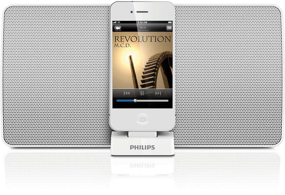 Disfruta de la música desde tu altavoz base para iPod/iPhone