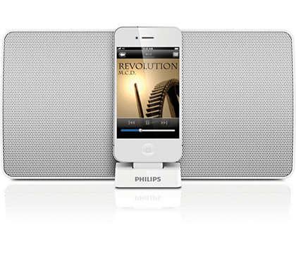 Desfrute de música do seu altifalante de base para iPod/iPhone