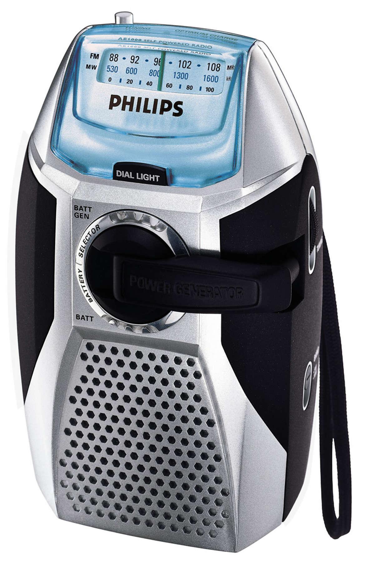 Radio zonder batterijen