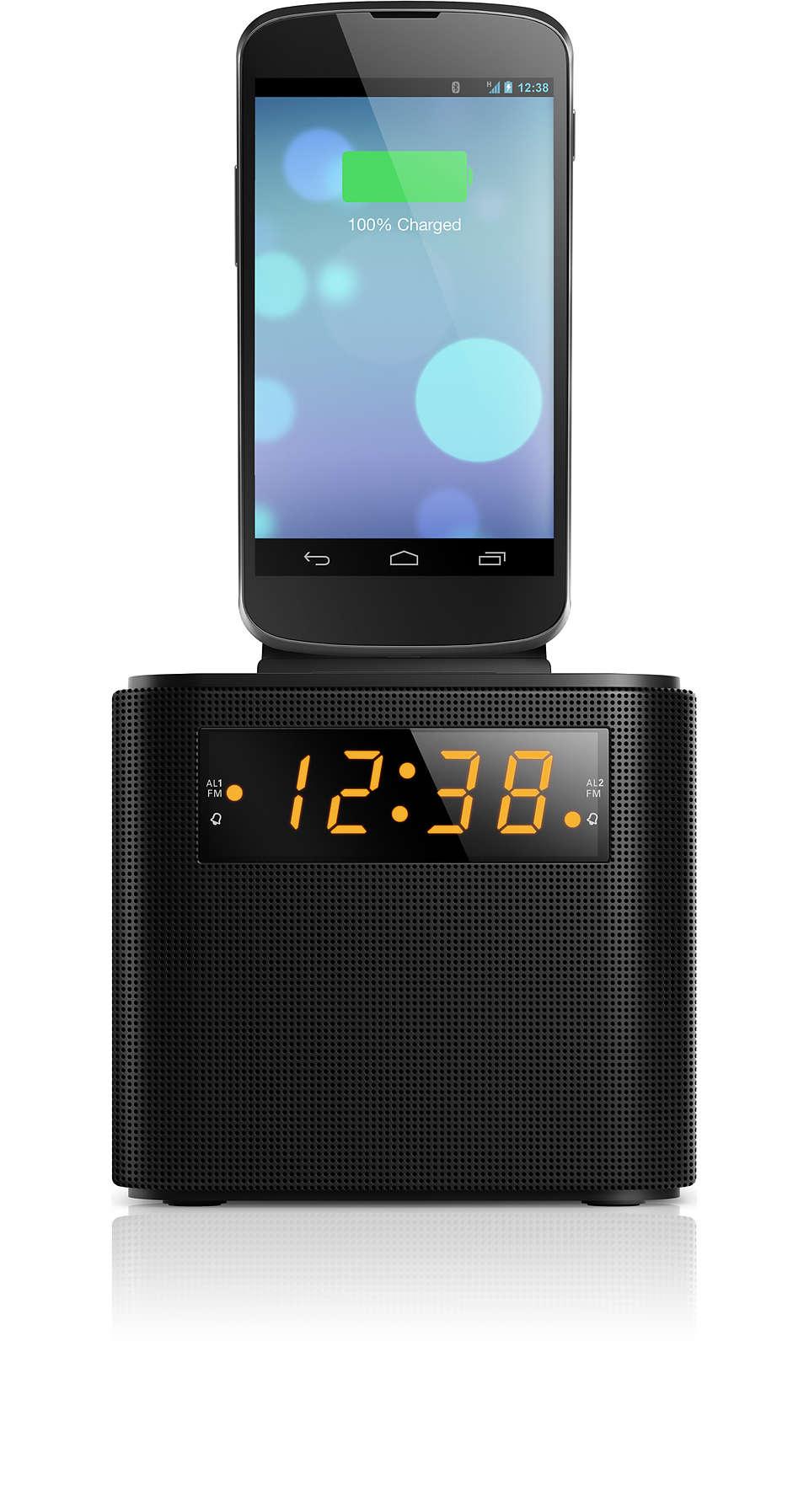 Réveillez-vous au son de la radioavec votre smartphone rechargé