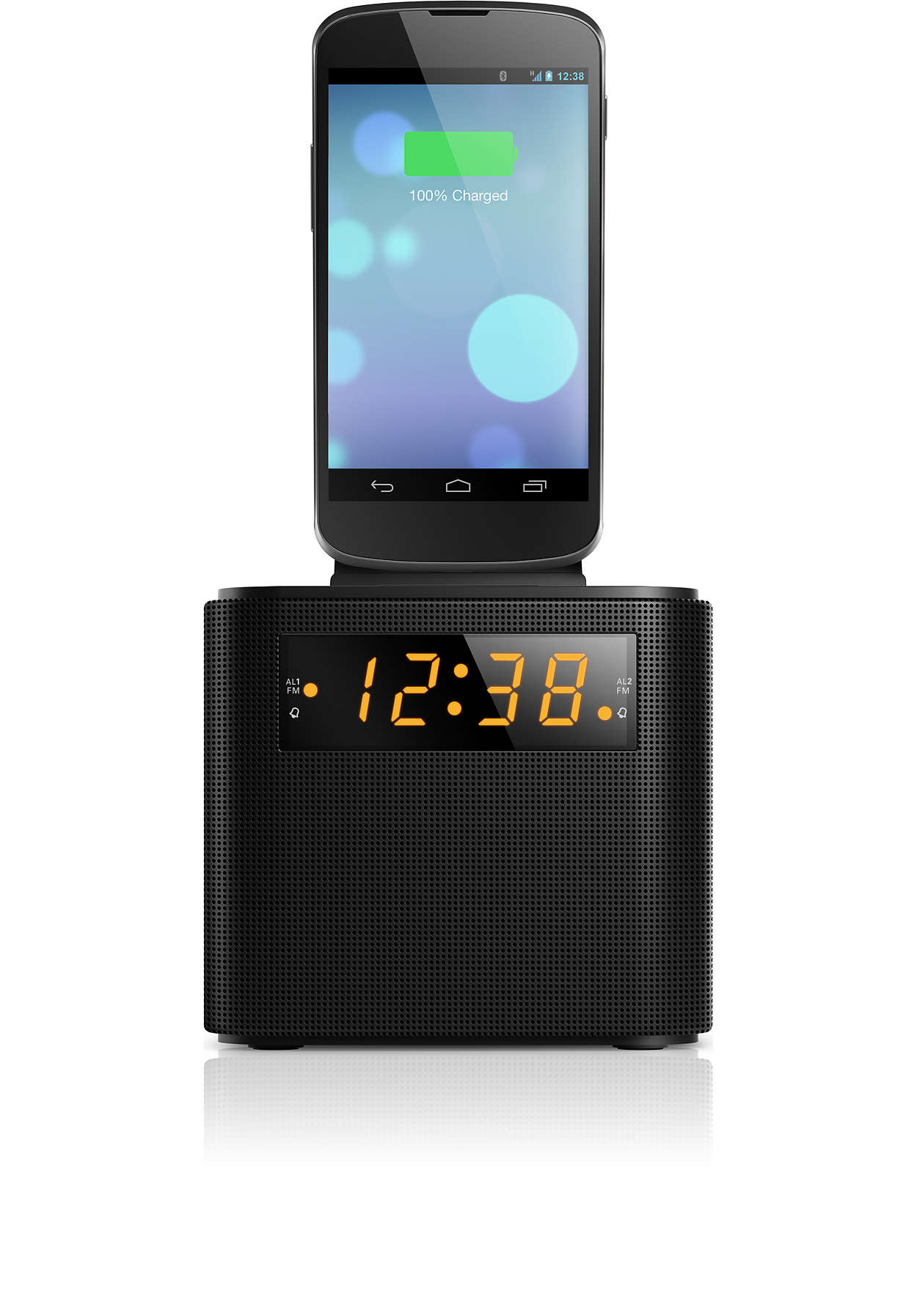 Wake up to FM radio and a smartphone fully charged