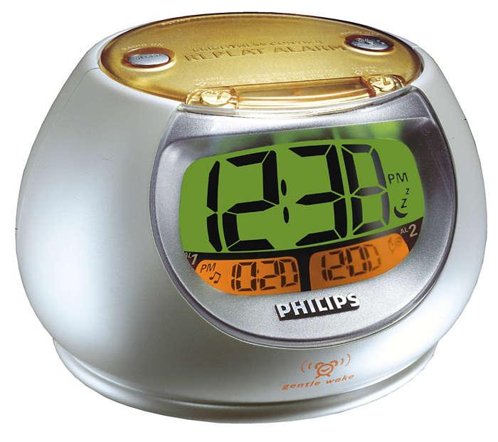 Visualización de hora de alarma con alarma de despertador gallo