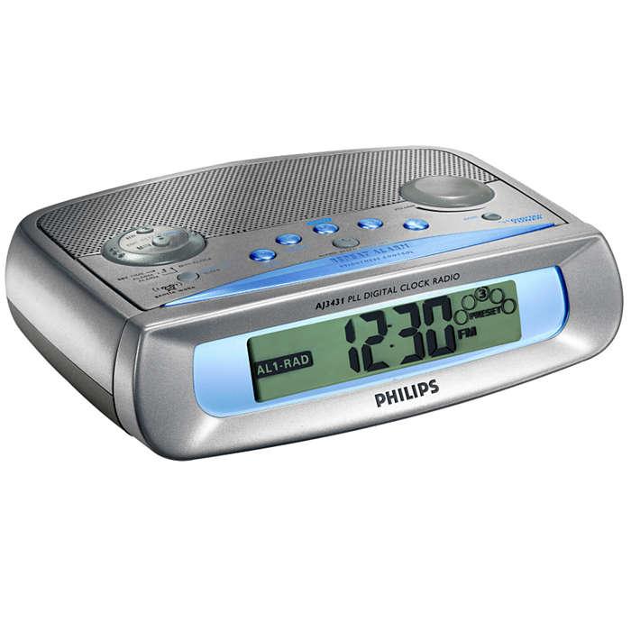 Klokkeradio med to alarmer