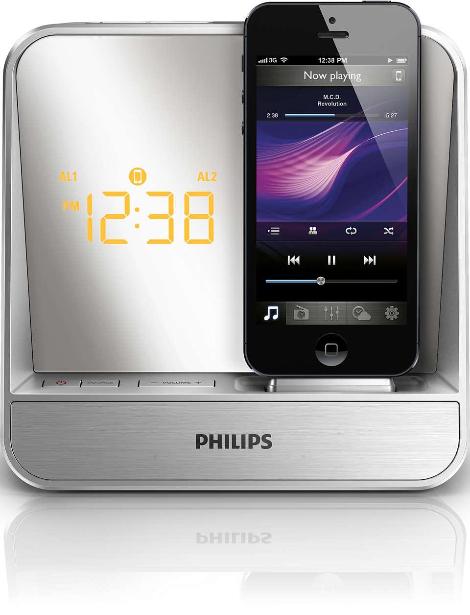Wachen Sie zu großartigem Sound von Ihrem iPod/iPhone auf.