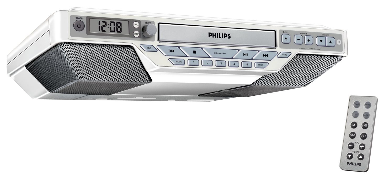 Interior Kitchen Radio Under Cabinet kitchen clock radio aj611137 philips slim design fits anywhere