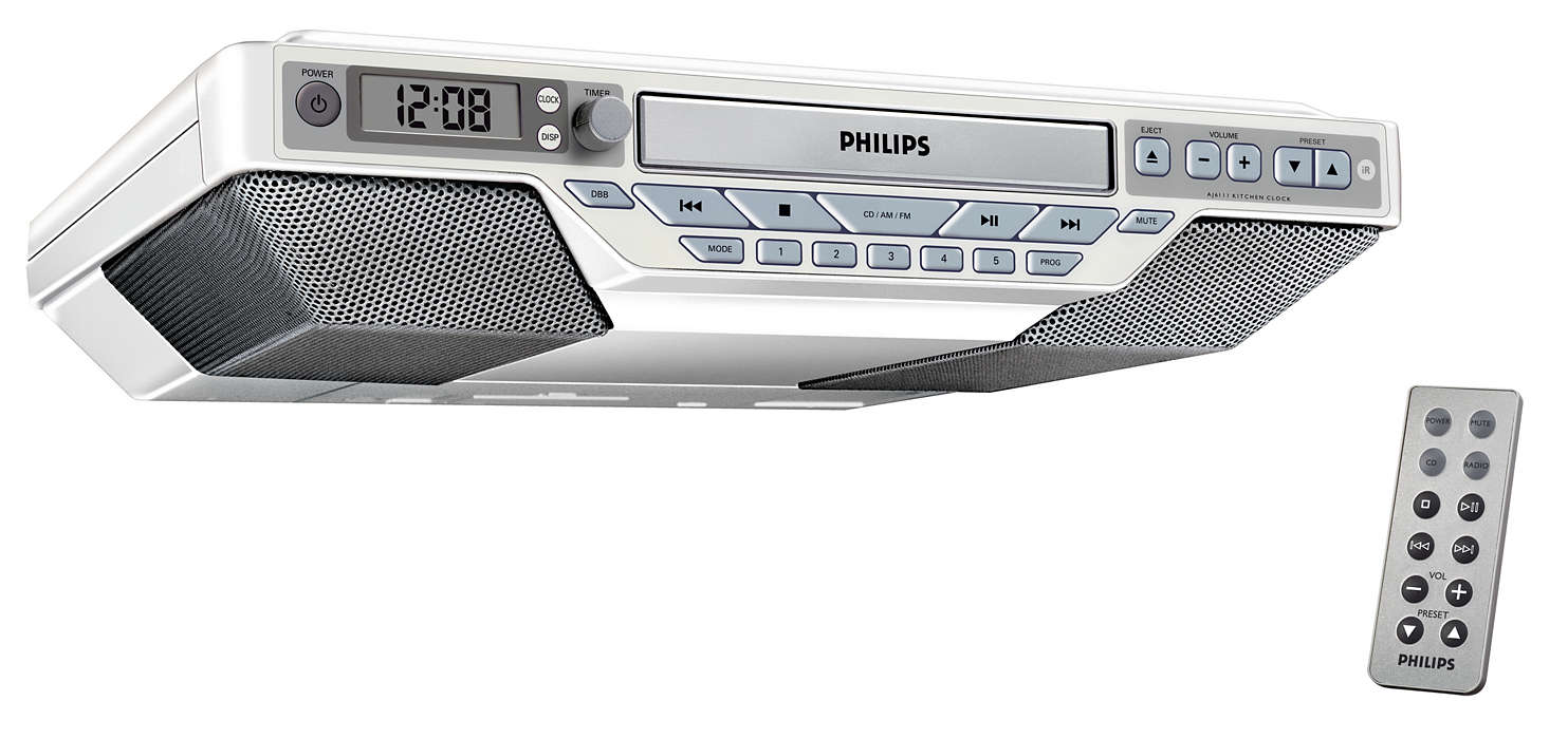 Kitchen Clock Radio Aj6111 37 Philips Under Cabinet Cd Player With Bluetooth