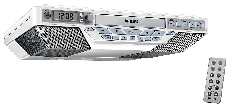 kitchen radio under cabinet. Slim design  fits anywhere Kitchen Clock Radio AJ6111 37 Philips