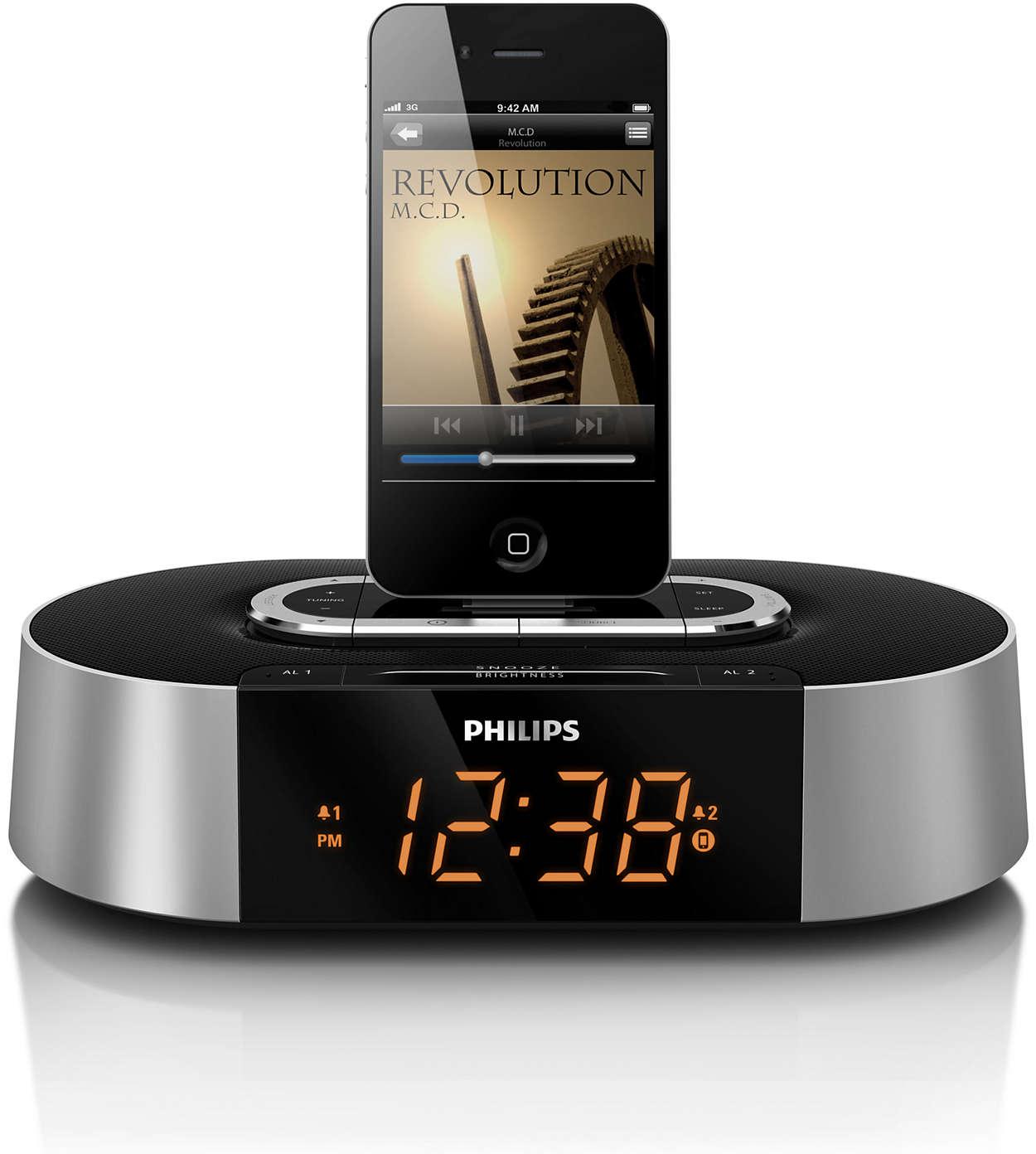 radio r veil pour ipod iphone aj7030d 12 philips. Black Bedroom Furniture Sets. Home Design Ideas