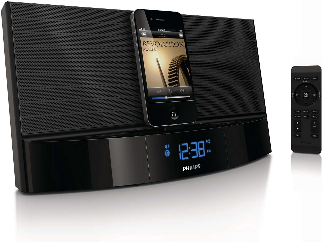 docking station for ipod iphone aj7040d 37 philips. Black Bedroom Furniture Sets. Home Design Ideas