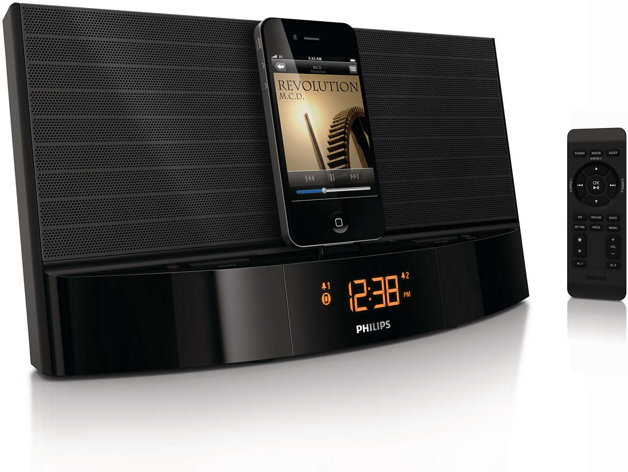 station d 39 accueil pour ipod iphone aj7041d 12 philips. Black Bedroom Furniture Sets. Home Design Ideas