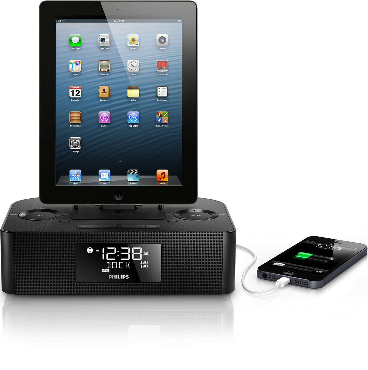 docking station for ipod iphone ipad aj7050d 05 philips. Black Bedroom Furniture Sets. Home Design Ideas