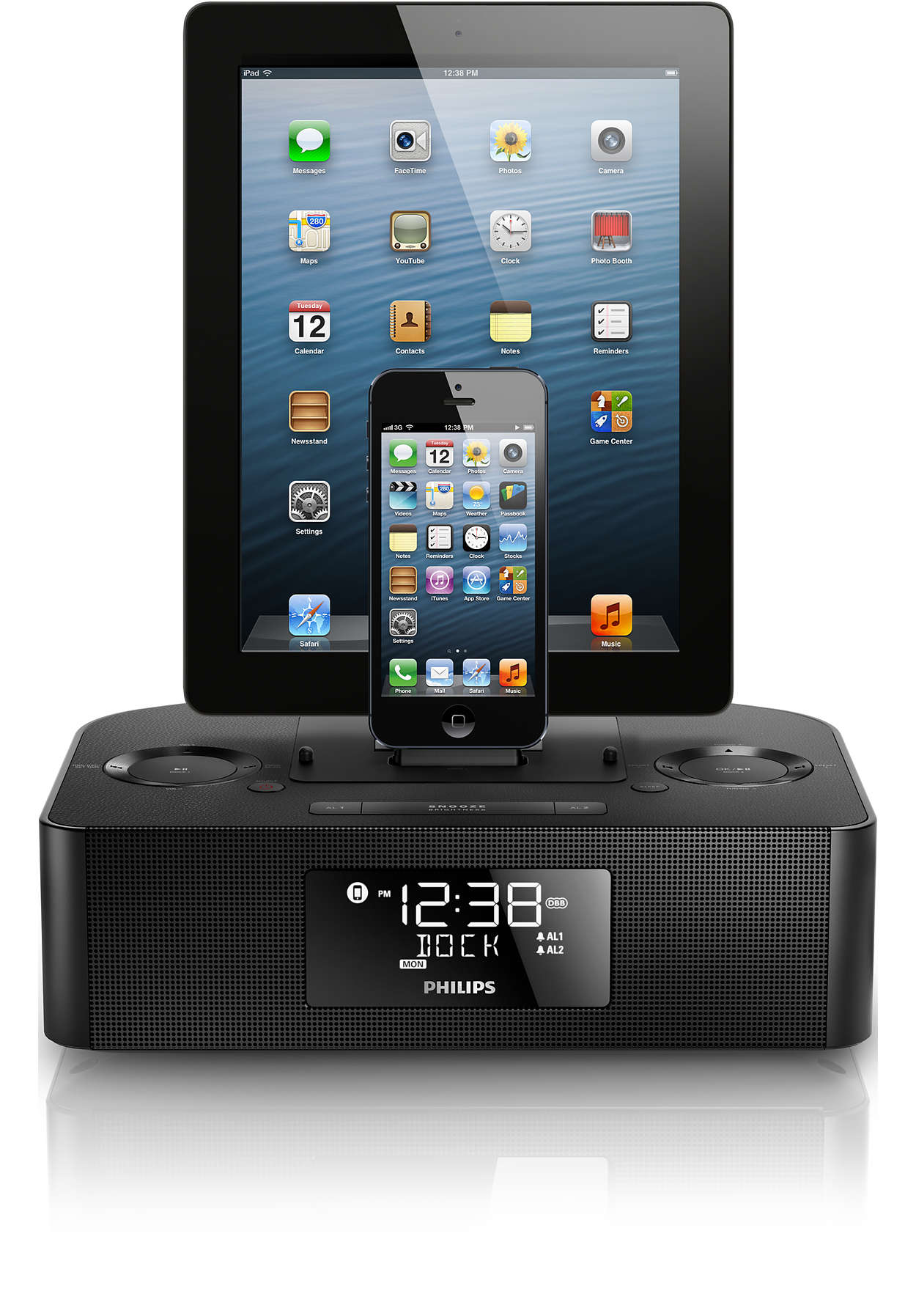 dual dock triple charging clock radio aj7260d 37 philips. Black Bedroom Furniture Sets. Home Design Ideas
