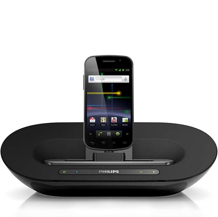 Reproduza suas músicas e carregue o telefone Android