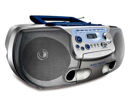 música MP3 completa, com graves reforçados