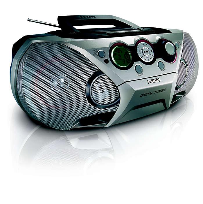 allt-i-ett, imponerande MP3-musik
