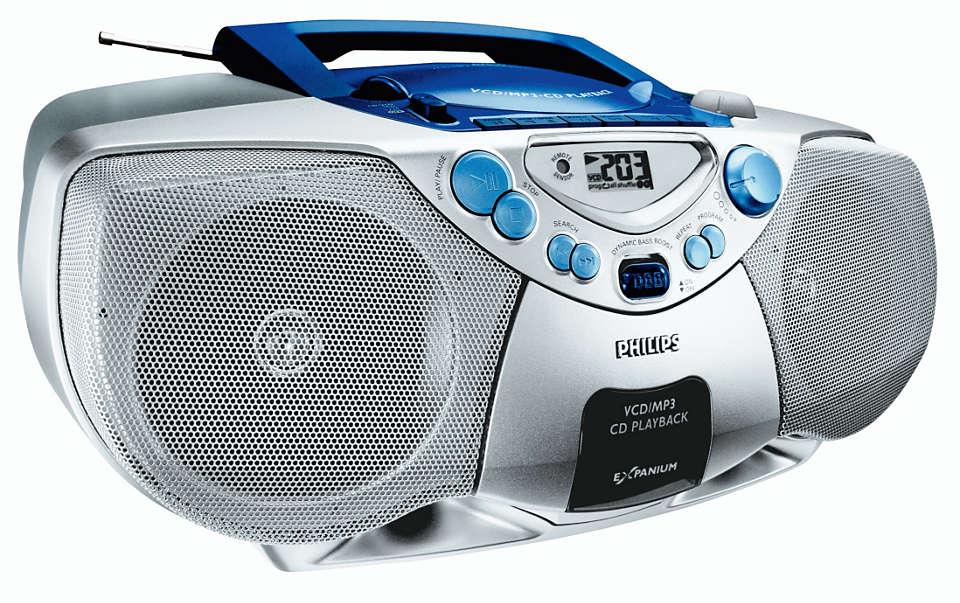 MP3-CD lejátszás dinamikus mélyhangkiemeléssel