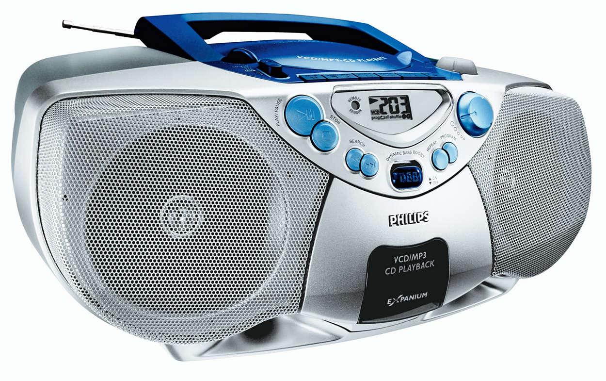 MP3-CD med dynamisk bassforsterking