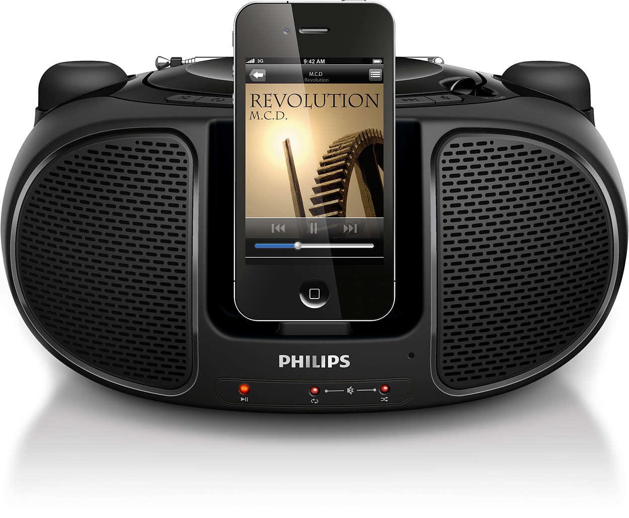 Наслаждайтесь музыкой с iPod/iPhone, где бы вы ни были