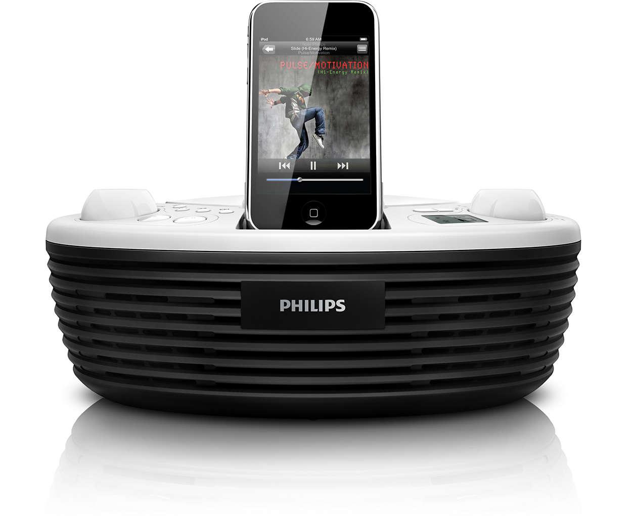 Lyssna på musik från din iPod eller dina CD-skivor var du än är