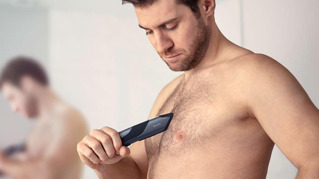Man shaving private parts