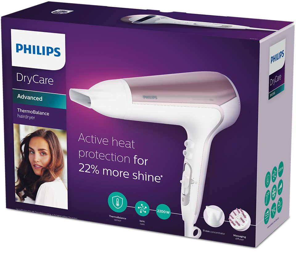 Philips BHD18600 DryCare Advanced Haartrockner weißrot