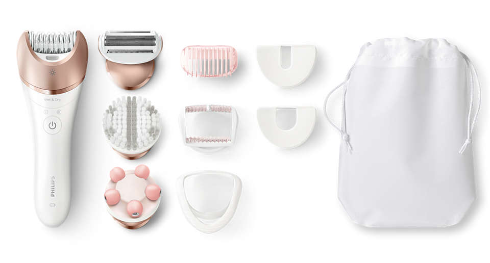 More hair removal power + tweezing actions in a Philips epilator