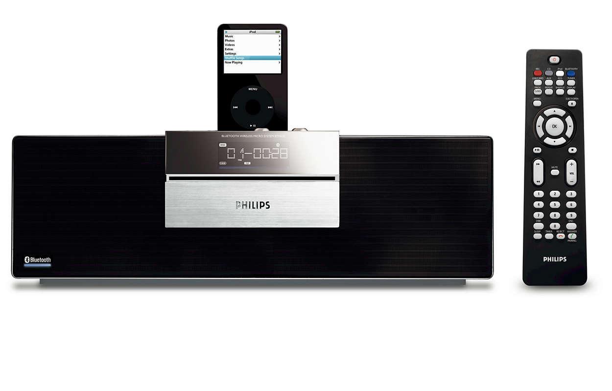 Enjoy wireless music via Bluetooth® technology
