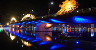 Da Nang's Dragon Bridge at night