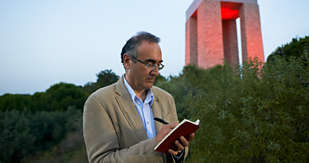 Poet Sunay Akin at work in Gallipoli