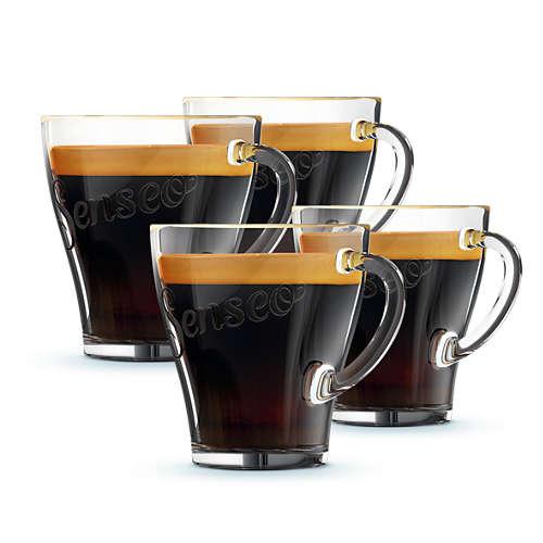 Glazen koffiekopjes