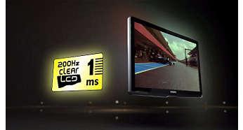 200 Hz Clear LCD*, tempo di risposta pari a 1 ms per un'estrema nitidezza delle immagini in movimento