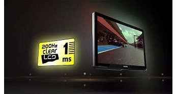 200Hz Clear LCD*, 1 мс: непревзойденная четкость динамичных сцен