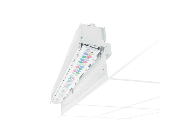 SkyRibbon IntelliHue Wall Grazing recessed interior LED fixture with Louver