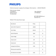 COP2005/01 -    Datos de eficiencia energética