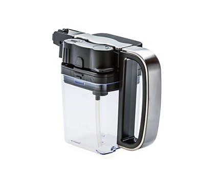 Completo recipiente transparente para la leche