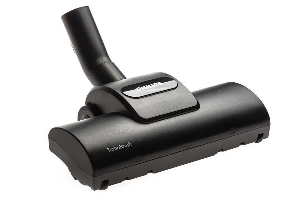 Mondstuk met Turbo-borstel voor diepe tapijtreiniging.