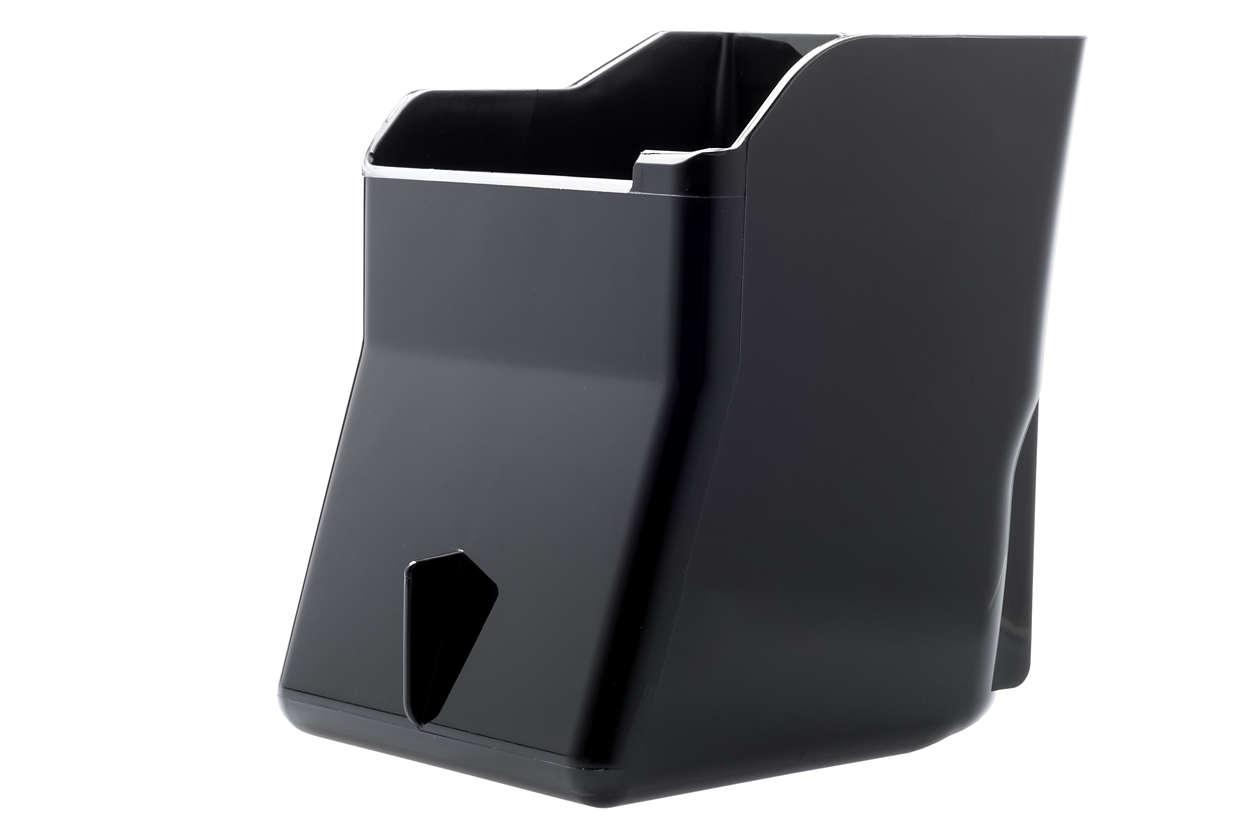 Behållare för malet kaffe med puckavdelare