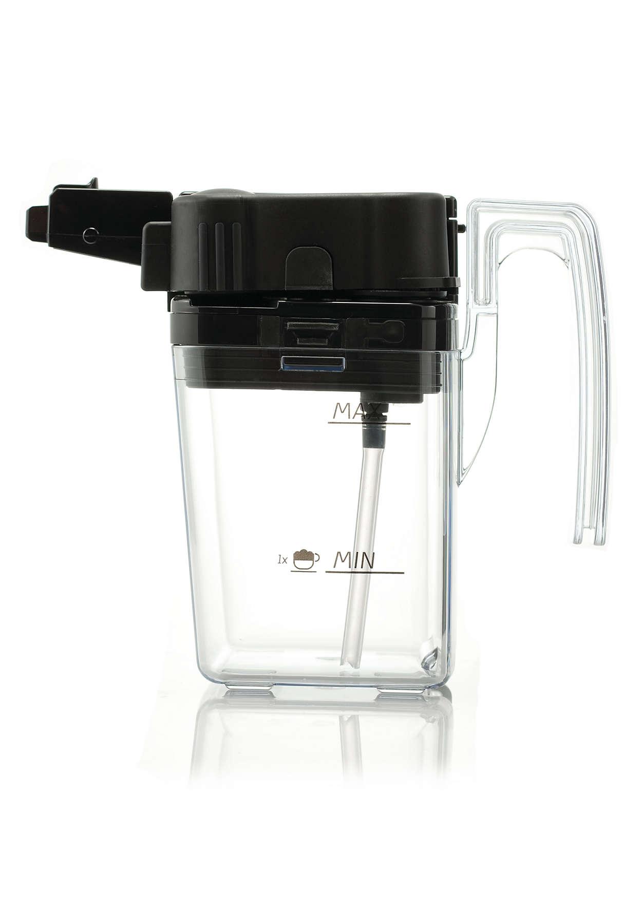 Melkreservoir in uw koffiezetapparaat