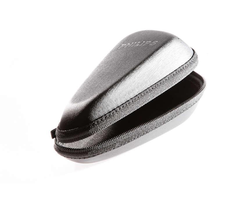 Una funda que te permite guardar la afeitadora de forma segura.