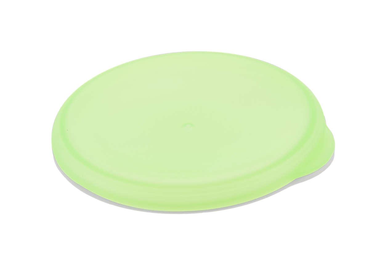 Couvercle vert pour fermer votre tasse d'apprentissage