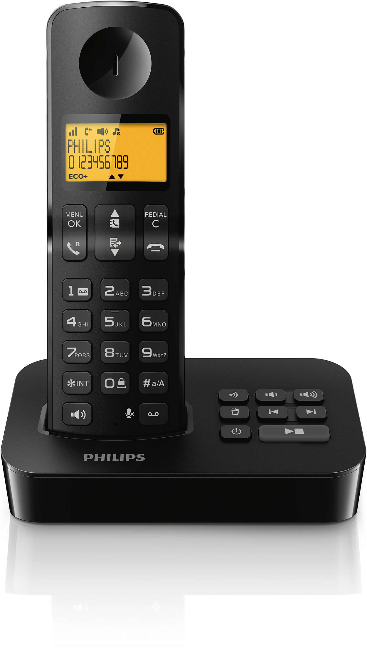 t l phone fixe sans fil avec r pondeur d2151b fr philips. Black Bedroom Furniture Sets. Home Design Ideas