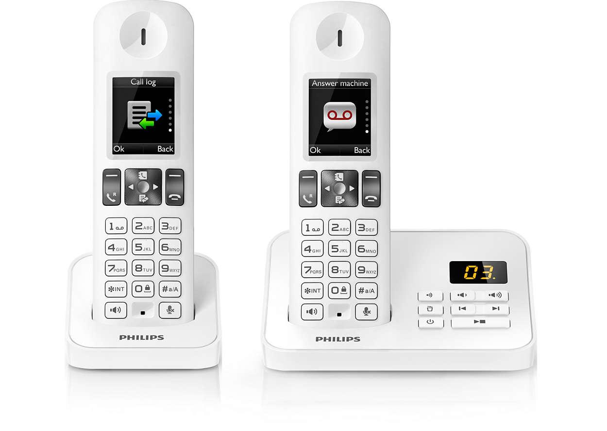 T l phone fixe sans fil d6052w fr philips for Telephone interieur sans fil
