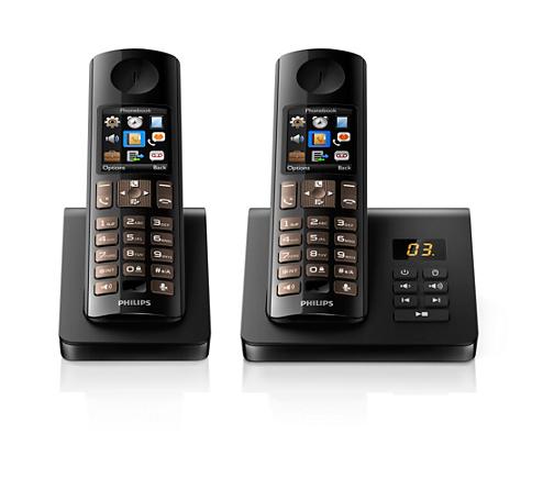 t l phone fixe sans fil avec r pondeur d7052b 22 philips. Black Bedroom Furniture Sets. Home Design Ideas