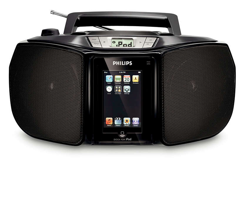 Enjoy iPod and CD music out loud anywhere you go