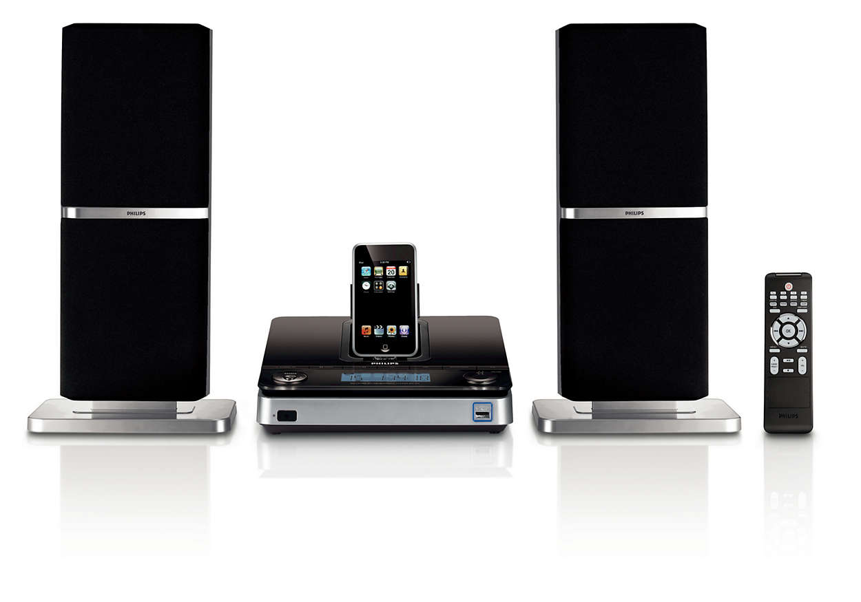 Enjoy iPod music out loud with slim speakers