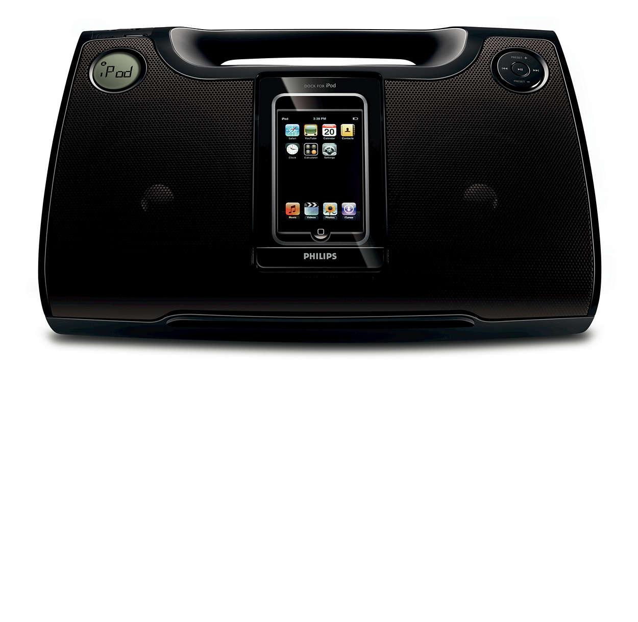 Få musikken fra din iPod og MP3-afspiller ud, uanset hvor du er