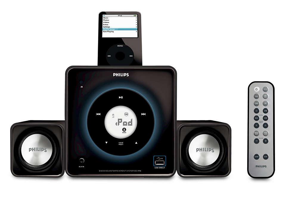 Podłącz odtwarzacz i słuchaj muzyki przez głośniki
