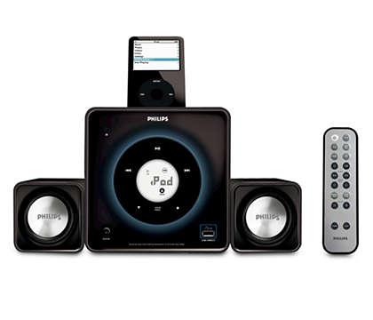 Reproduza a sua música digital na base e ouça-a bem alto